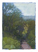 * Pathway to Corsini, 4-1/2 x 3-3/8 inches, gouache on paper