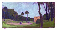 * Pamphili Field, 3-1/2 x 6-1/4 inches, gouache on paper