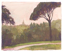 Late Day, Pamphili Garden, Rome, 6-1/2 x 8 inches, gouache on paper